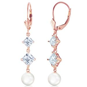 CHANDELIER EARRING WITH AQUAMARINES & PEARLS